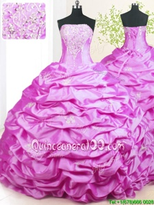 Beading and Pick Ups 15 Quinceanera Dress Lilac Lace Up Sleeveless With Train Sweep Train