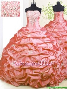 Sumptuous With Train Lace Up Quince Ball Gowns Pink and In forMilitary Ball and Sweet 16 withBeading and Pick Ups Sweep Train
