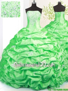 Glittering Spring Green Ball Gowns Taffeta Strapless Sleeveless Beading and Pick Ups Lace Up Quinceanera Gowns Sweep Train