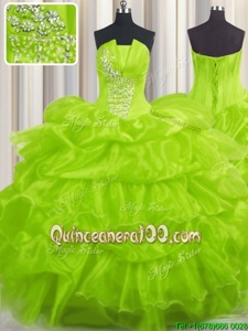 Trendy Yellow Green Organza Lace Up Sweet 16 Quinceanera Dress Sleeveless Floor Length Beading and Ruffles and Pick Ups