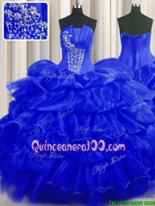 Vintage Royal Blue Ball Gowns Beading and Ruffles and Pick Ups Quinceanera Gowns Lace Up Organza Sleeveless Floor Length