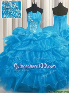 Delicate Pick Ups Ball Gowns Quinceanera Dresses Baby Blue Strapless Organza Sleeveless Floor Length Lace Up