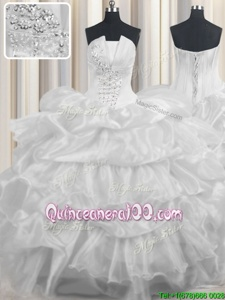 Custom Made Pick Ups Ruffled Floor Length White Quinceanera Dress Strapless Sleeveless Lace Up