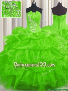 Enchanting Pick Ups Ruffled Ball Gowns Quince Ball Gowns Spring Green Strapless Organza Sleeveless Floor Length Lace Up