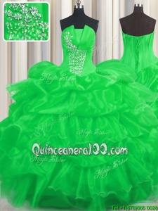 Glamorous Pick Ups Ruffled Floor Length Ball Gowns Sleeveless Green Quince Ball Gowns Lace Up