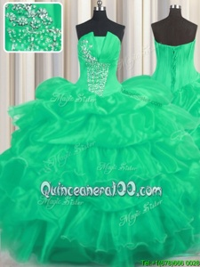 Popular Turquoise Organza Lace Up Strapless Sleeveless Floor Length Sweet 16 Dress Beading and Ruffled Layers and Pick Ups