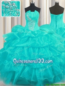 Sumptuous Aqua Blue Ball Gowns Strapless Sleeveless Organza Floor Length Lace Up Beading and Ruffled Layers and Pick Ups Sweet 16 Quinceanera Dress