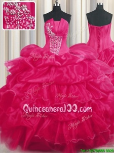 Shining Hot Pink Strapless Neckline Beading and Ruffled Layers and Pick Ups 15th Birthday Dress Sleeveless Lace Up