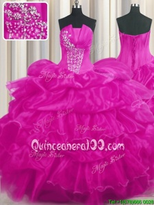 Pick Ups Ruffled Floor Length Ball Gowns Sleeveless Hot Pink and Fuchsia Quince Ball Gowns Lace Up