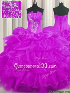 Simple Strapless Sleeveless Organza Sweet 16 Dresses Beading and Ruffled Layers and Pick Ups Lace Up