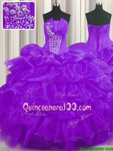Exquisite Purple Sleeveless Floor Length Beading and Ruffled Layers and Pick Ups Lace Up 15th Birthday Dress