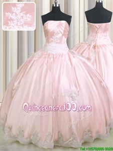 Eye-catching Baby Pink Ball Gowns Strapless Sleeveless Taffeta Floor Length Lace Up Beading and Appliques Quinceanera Dress