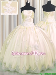 New Style Taffeta Strapless Sleeveless Lace Up Beading and Appliques 15th Birthday Dress inChampagne