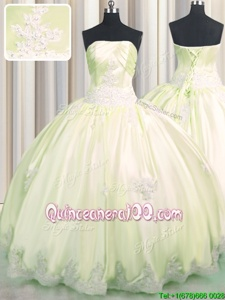 Fancy Light Yellow 15 Quinceanera Dress Military Ball and Sweet 16 and Quinceanera and For withBeading and Appliques Strapless Sleeveless Lace Up