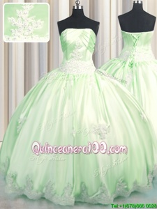 Hot Selling Yellow Green Sleeveless Beading and Appliques Floor Length 15th Birthday Dress