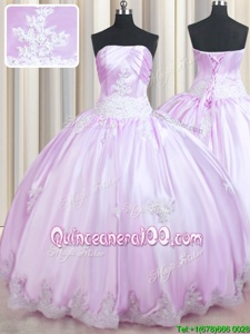 Free and Easy Sleeveless Floor Length Beading and Appliques Lace Up Sweet 16 Dress with Lilac
