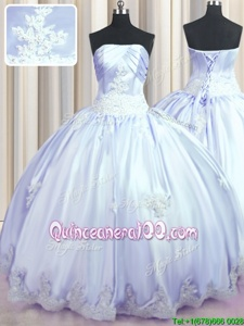 Low Price Floor Length Ball Gowns Sleeveless Lavender Quinceanera Dress Lace Up
