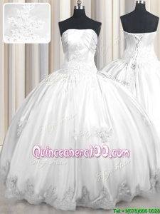 Best Selling Sleeveless Lace Up Floor Length Beading and Appliques Quinceanera Gowns