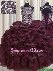 Great Scoop See Through Dark Green Sleeveless Organza Lace Up 15 Quinceanera Dress forMilitary Ball and Sweet 16 and Quinceanera