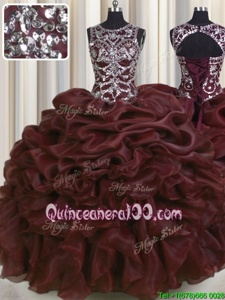 See Through Beading and Pick Ups Quinceanera Gown Burgundy Lace Up Sleeveless Floor Length