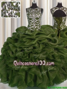 Fashionable See Through Olive Green Vestidos de Quinceanera Military Ball and Sweet 16 and Quinceanera and For withBeading and Pick Ups Scoop Sleeveless Lace Up