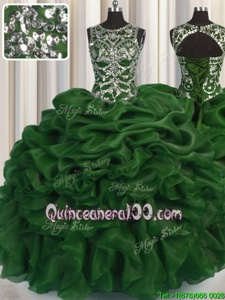 See Through Ball Gowns Quinceanera Gown Olive Green Scoop Organza Sleeveless Floor Length Lace Up