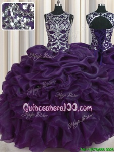 Colorful Scoop Sleeveless Beading and Pick Ups Lace Up Quinceanera Gown