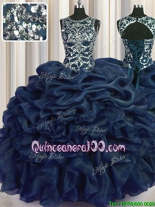 Pretty Pick Ups Floor Length Navy Blue Vestidos de Quinceanera Scoop Sleeveless Lace Up