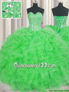 Flirting Visible Boning Floor Length Green 15th Birthday Dress Sweetheart Sleeveless Lace Up
