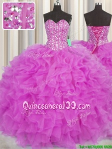 Simple Visible Boning Hot Pink and Fuchsia Ball Gowns Beading and Ruffles 15 Quinceanera Dress Lace Up Organza Sleeveless Floor Length