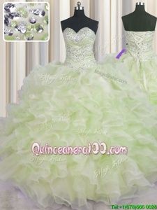 Unique Yellow Green Ball Gowns Sweetheart Sleeveless Organza Floor Length Lace Up Beading and Ruffles Quinceanera Gowns