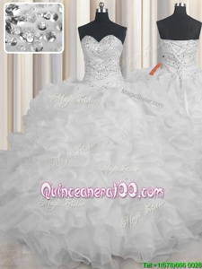 Dynamic White Lace Up Quince Ball Gowns Beading and Ruffles Sleeveless Floor Length