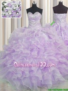 Pretty Sweetheart Sleeveless 15th Birthday Dress Floor Length Beading and Ruffles Lavender Organza