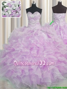 Exceptional Floor Length Lilac Sweet 16 Dresses Organza Sleeveless Spring and Summer and Fall and Winter Beading and Ruffles