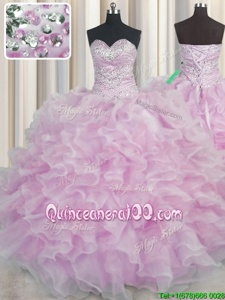 Ideal Bling-bling Lilac Lace Up Sweet 16 Dresses Beading and Ruffles Sleeveless Floor Length