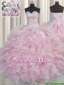 Fancy Bling-bling Pink Sweetheart Neckline Beading and Ruffles Sweet 16 Quinceanera Dress Sleeveless Lace Up