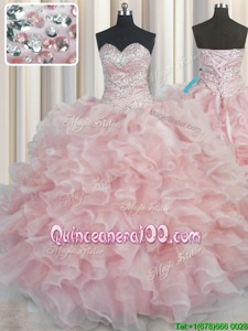 Admirable Bling-bling Sleeveless Organza Floor Length Lace Up Quinceanera Gowns inPink forSpring and Summer and Fall and Winter withBeading and Ruffles
