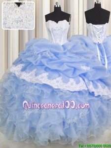 Vintage Lavender Ball Gowns Organza Sweetheart Sleeveless Beading and Appliques and Ruffled Layers Floor Length Lace Up Quinceanera Gowns