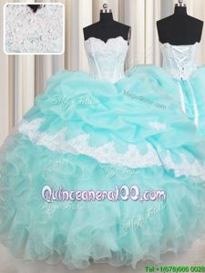 Nice Baby Blue 15 Quinceanera Dress Military Ball and Sweet 16 and Quinceanera and For withBeading and Appliques and Ruffled Layers Sweetheart Sleeveless Lace Up