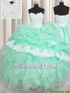 Colorful Sleeveless Lace Up Floor Length Beading and Ruffles and Pick Ups Sweet 16 Dress