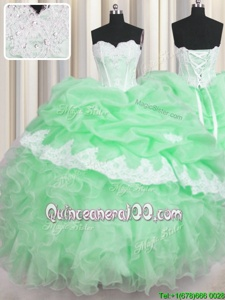 Enchanting Green Sweetheart Neckline Beading and Appliques and Ruffles and Pick Ups Sweet 16 Dresses Sleeveless Lace Up