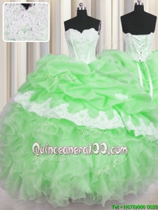 Custom Designed Spring Green Ball Gowns Beading and Appliques and Ruffles and Pick Ups Vestidos de Quinceanera Lace Up Organza Sleeveless Floor Length