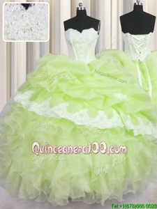 Modern Floor Length Yellow Green Vestidos de Quinceanera Organza Sleeveless Spring and Summer and Fall and Winter Beading and Appliques and Ruffles and Pick Ups