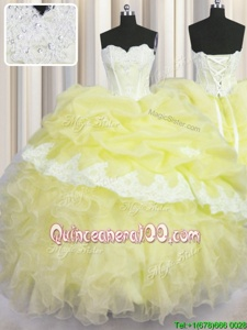 Wonderful Light Yellow Lace Up Sweetheart Beading and Appliques and Ruffles and Pick Ups Sweet 16 Quinceanera Dress Organza Sleeveless
