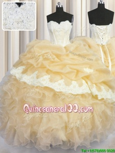 Decent Sleeveless Beading and Appliques and Ruffles and Pick Ups Lace Up Quince Ball Gowns