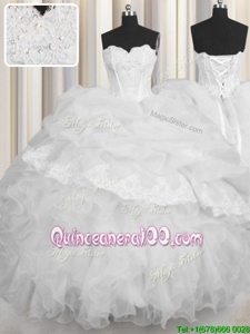 Spring and Summer and Fall and Winter Organza Sleeveless Floor Length Quinceanera Gowns andBeading and Appliques and Ruffles and Pick Ups