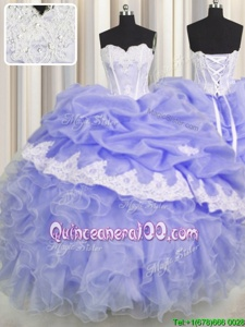 Exquisite Lavender Sleeveless Floor Length Beading and Appliques and Ruffles and Pick Ups Lace Up Quinceanera Gowns