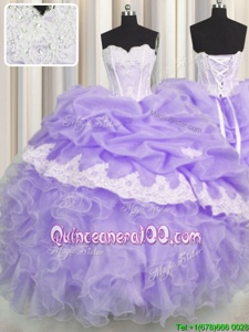 Attractive Sleeveless Lace Up Floor Length Beading and Appliques and Ruffles and Pick Ups Sweet 16 Quinceanera Dress