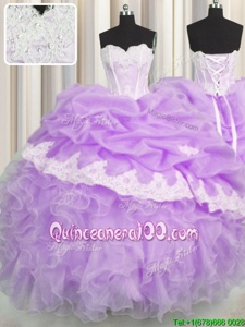 Eye-catching Beading and Appliques and Ruffles and Pick Ups 15 Quinceanera Dress Lavender Lace Up Sleeveless Floor Length