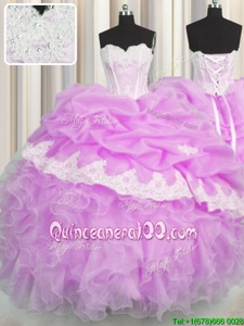 Superior Sleeveless Organza Floor Length Lace Up Sweet 16 Quinceanera Dress inLilac forSpring and Summer and Fall and Winter withBeading and Appliques and Ruffles and Pick Ups